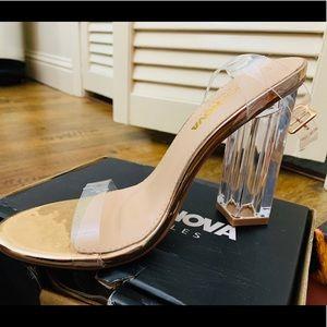 Fashion Nova Clear Ankle Strap Heels